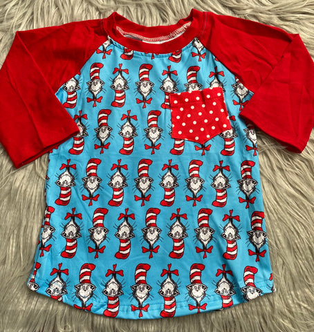 Cat in the Hat 3/4 Sleeve Polka Dot Pocket Raglan
