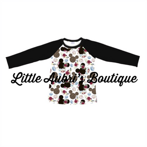 Leopard Pumpkin Mouse Mommy Raglan(Pick Sleeve Length) (Size Down)