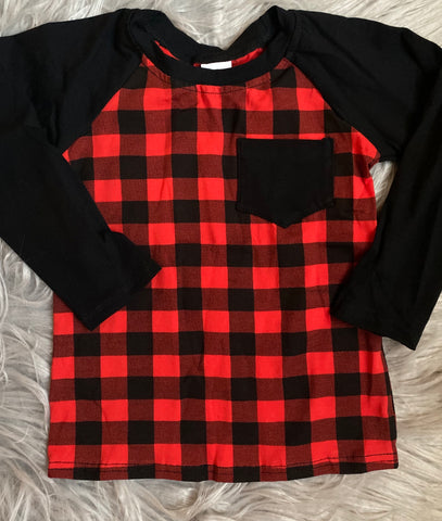 Buffalo Plaid Long Sleeve Pocket Raglan