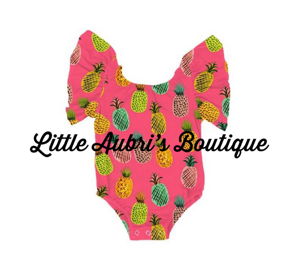 PREORDER Neon Pineapples Flutter Sleeve Leotard CLOSES 3/29