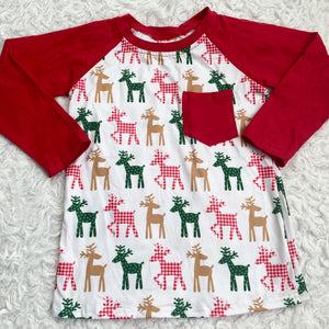 Holiday Reindeer Long Sleeve Pocket Raglan
