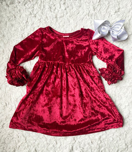 Wine Crushed Velvet Long Sleeve Icing Dress