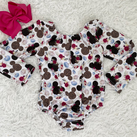 Leopard Pumpkin Mouse Long Sleeve Leotard