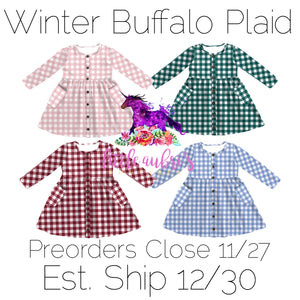 PREORDER Winter Buffalo Button Down Hidden Pocket Dress CLOSES 11/27