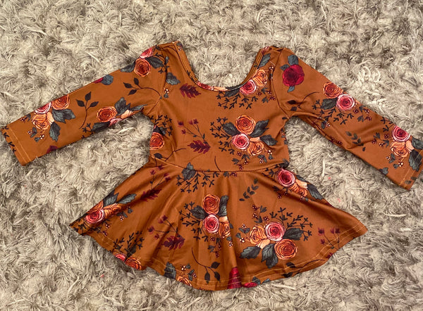 Mustard Floral Scoop Back Peplum