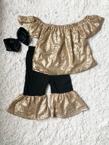 Champagne Gold Sequin Top and Bell Bottom Set