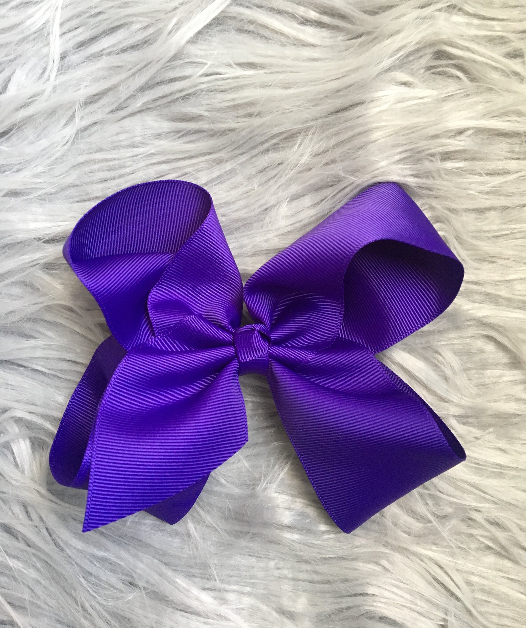 Purple 6 in. Ribbon Bow on Alligator Clip