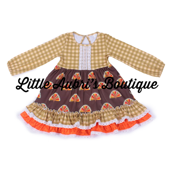 Gingham Turkey Long Sleeve Ruffle Lace Dress