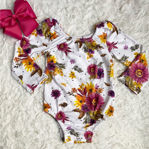 Purple Floral Long Sleeve Leotard