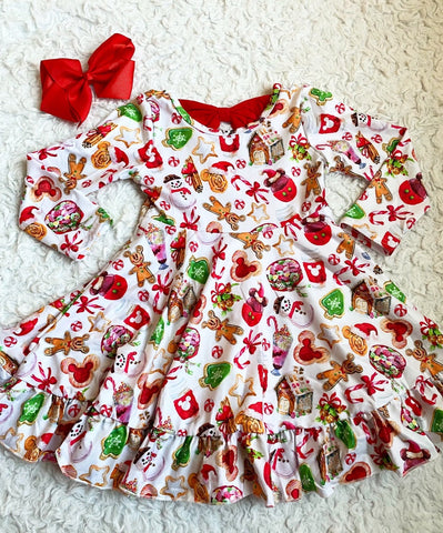 Christmas on Main St. Long Sleeve Bow Back Dress