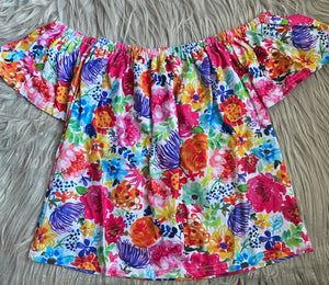 Summer Floral Off Shoulder Tunic Top