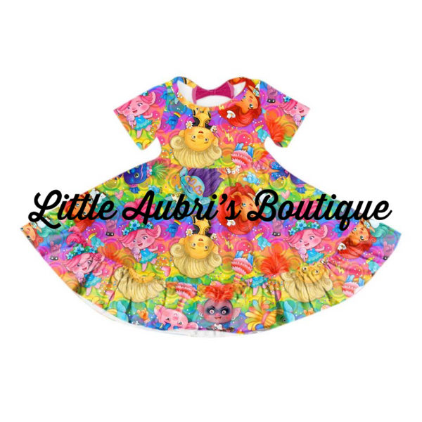 Trolls Triple Bow Back Twirl Dress