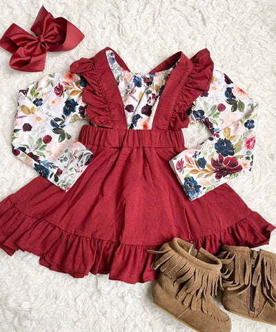 Wine Ruffle Suspender Skirt