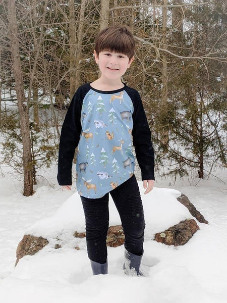 Blue Woodland Animals Raglan