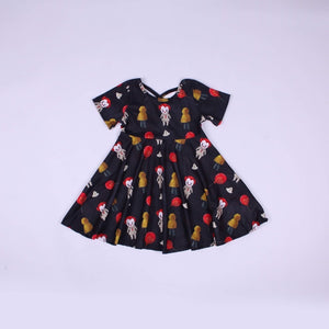Clown Cross Back Twirl Dress
