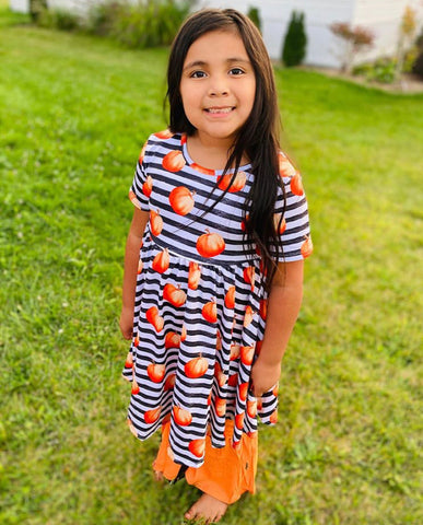 Striped Pumpkins Twirl Dress