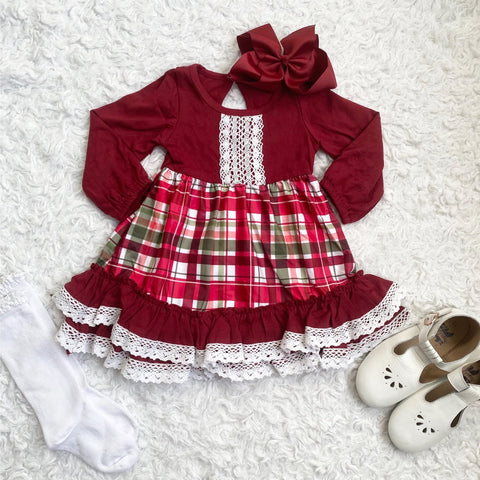 Christmas Plaid Ruffle Lace Dress