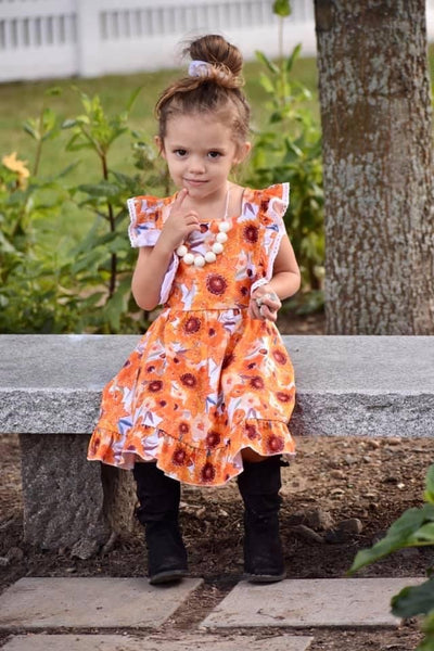 Sunflower Pumpkins Pinafore Dress