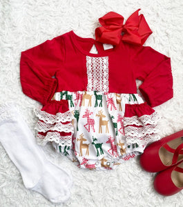 Holiday Reindeer Ruffle Lace Romper