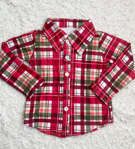 Christmas Plaid Long Sleeve Button