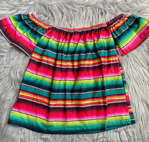 Pink Serape Off Shoulder Tunic Top
