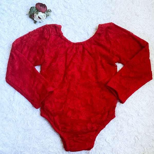 Red Lace Leotard (Fully Lined Body & Arms)