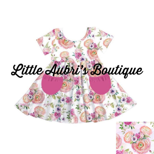 Floral Mouse Ruffle Pocket Twirl Dress