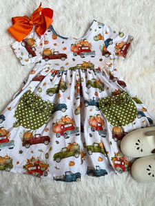 Pumpkin Trucks Ruffle Pocket Dress