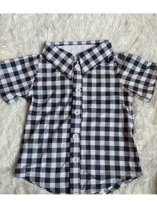 Navy Gingham Button Up