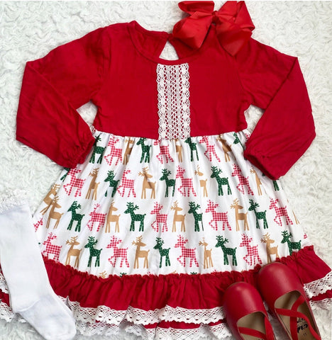 Holiday Reindeer Ruffle Lace Dress