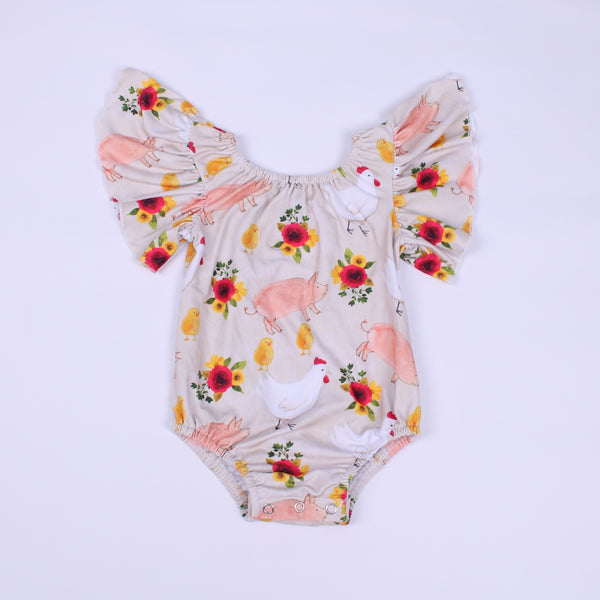 Floral Chicks & Pigs Flutter Sleeve Leotard