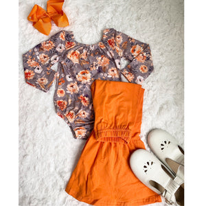 Orange Floral Long Sleeve Leotard