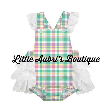 PREORDER Pastel Plaid Ruffle Lace Romper CLOSES 1/31