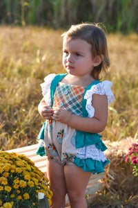 Field of Pumpkins Ruffle Lace Romper