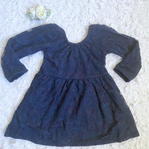 Navy Lace Scoop Back Dress