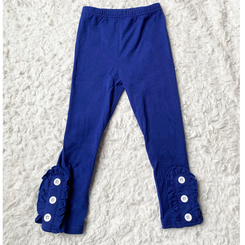 Royal Blue Button Ruffle Leggings