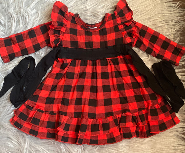 Buffalo Plaid Long Sleeve Knit Dress