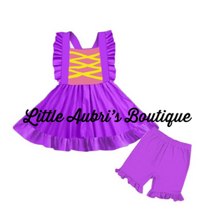 PREORDER Rapunzel Pinafore Tunic & Short Set CLOSES 4/16