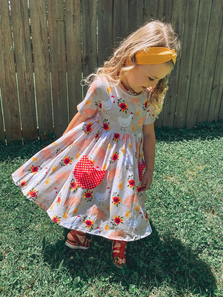 Floral Chicks & Pigs Pocket Twirl Dress