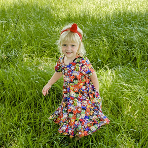 Superhero Kids Triple Bow Back Twirl Dress