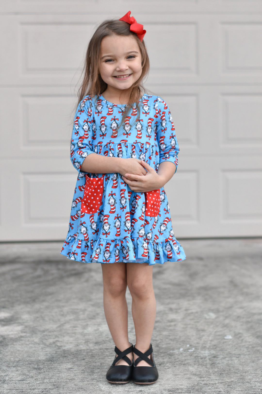 3/4 Sleeve Cat in the Hat Twirl Dress