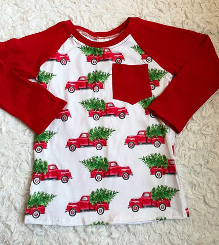 Red Christmas Trucks Long Sleeve Pocket Raglan