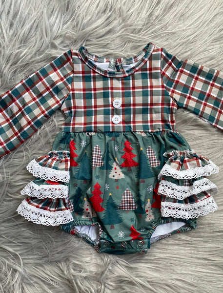 Oh Christmas Tree Long Sleeve Ruffle Lace Romper
