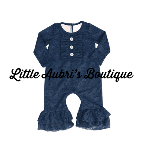 Navy Lace Ruffle Romper