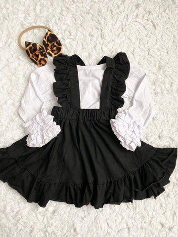 Black Ruffle Suspender Skirt