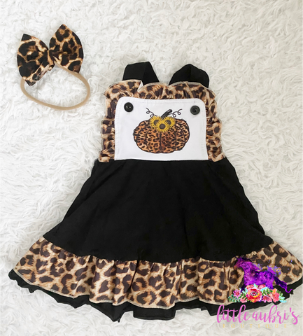 Leopard Sunflower Pumpkin Pinafore Dress