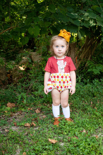 Apple Harvest Lace Ruffle Romper