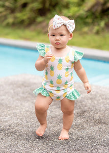 Pineapple Flutter One Piece Swimsuit