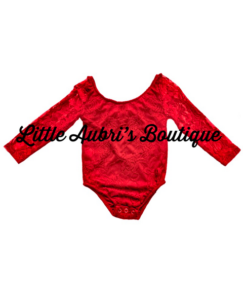 Lace Leotard Fully Lined (Red, White, and Black Option)