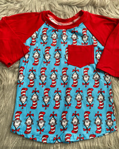 Cat in the Hat 3/4 Sleeve Red Pocket Raglan